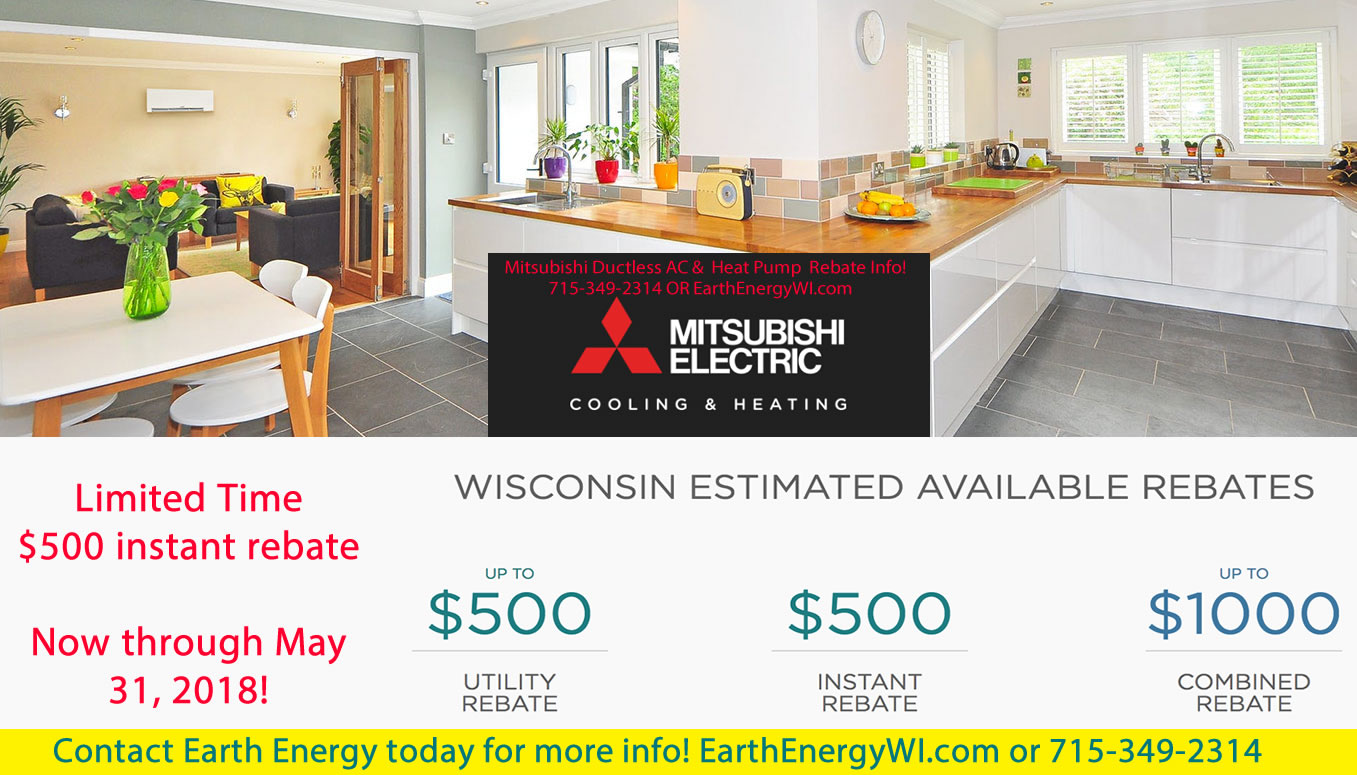 Mitsubishi Ductless AC and Heat Pump $500 Instant Rebate