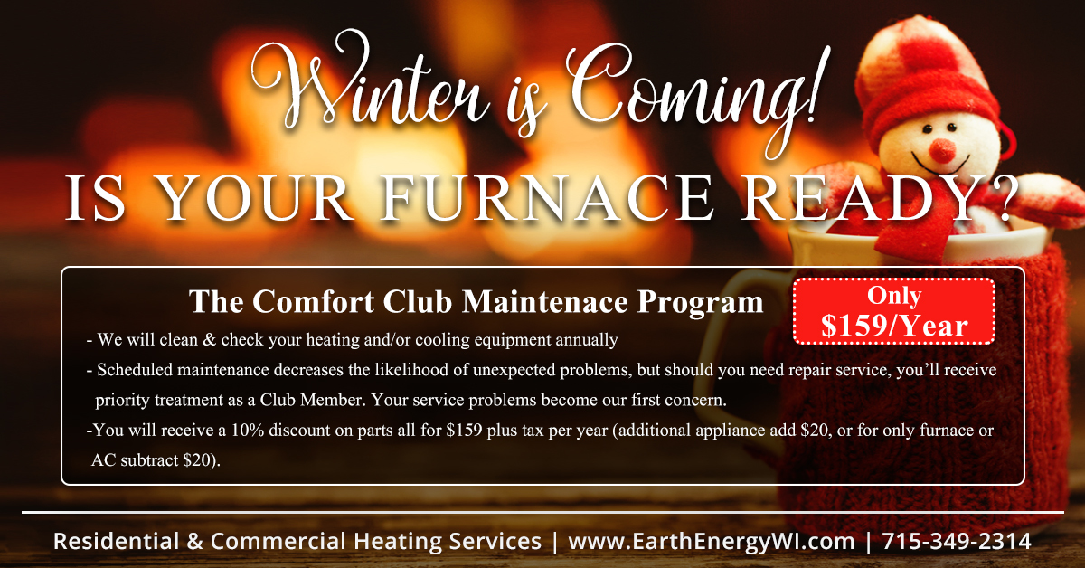 Earth Energy Comfort Club, Heating and AC Maintenance Package